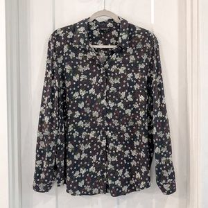 Topshop Black Red Floral Button Down Long Sleeve 8